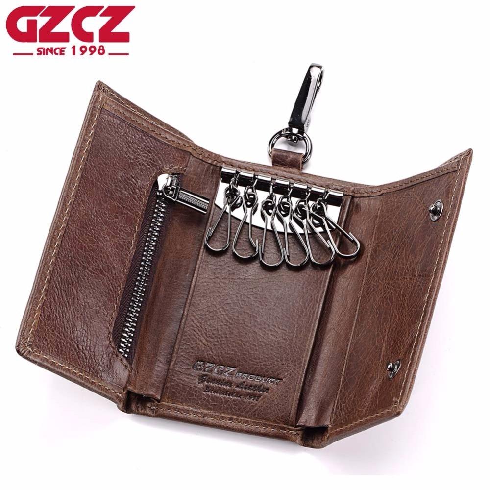 79e6b6e69a74 GZCZ Genuine Leather Key Wallet Men Holder Keychain Pouch Purse Zipper  Design Coin Purse Pocket Cash Walet Man Slim Vallet Women