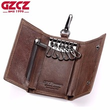 GZCZ Genuine Leather font b Key b font font b Wallet b font Men Holder Keychain