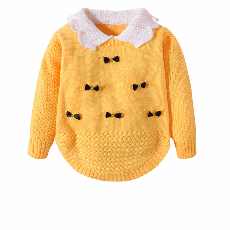 Cotton Girls Sweaters Solid Long Sleeve Clothes Knit Pullover Outerwear With Bows Warm Children Top Autumn Winter Kids Sweater (6)