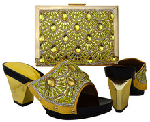 Hot sale gold women pumps and bag set with big crystal african shoes match handbag set for dress BCH-17,heel 8.3CM