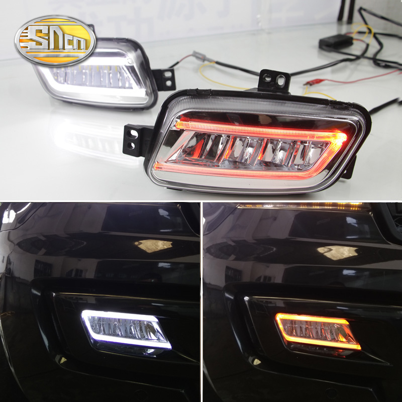 For Ford Everest 2016 2017,With Turning Yellow Signal Relay Waterproof Car DRL 12V LED Daytime Running Light LED Fog Lamp SNCN 12v led car drl turning signal
