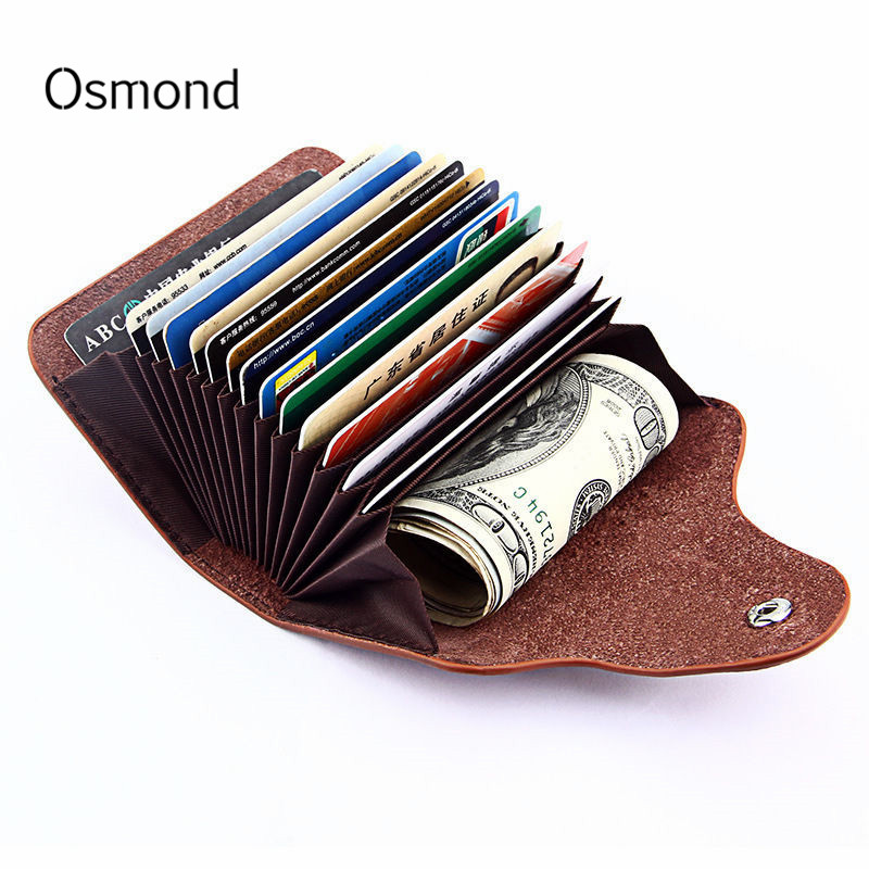 Osmond RFID Genuine Leather Unisex Business Card Holder Wallet Men And Women Bank Credit Card Case ID Holders Female Male Purse