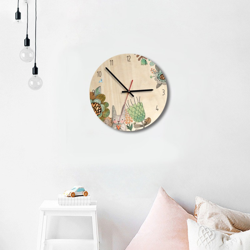 US $11.72 16% OFF|Log Nordic INS Wind Children\'s Bedroom Creative Mute Wall  Clock Quiet Wall Watch Decor For Study Room kIDS Room Home Decor-in Wall ...