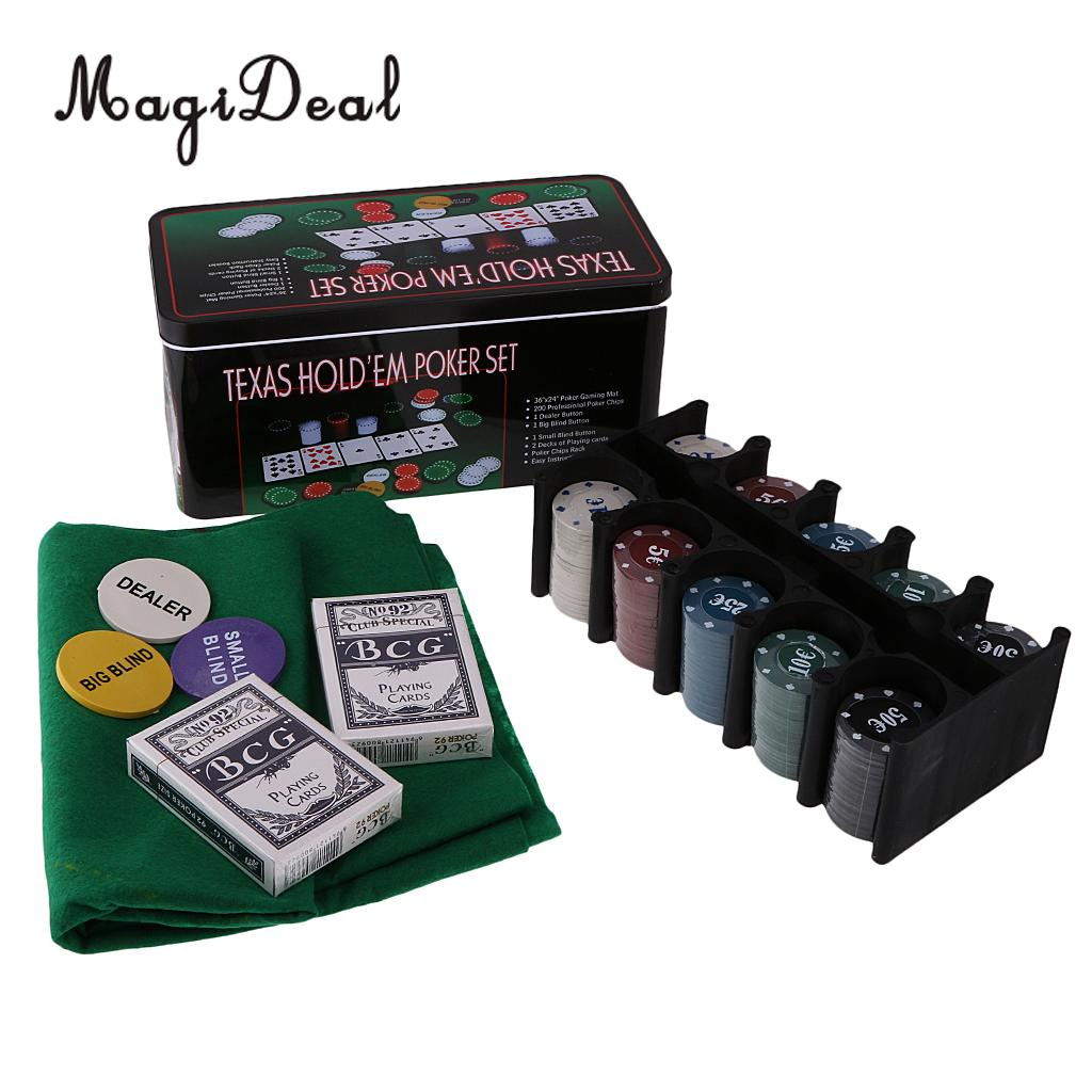 Set for Texas Holdem With 200 Chips, 2 Decks of Poker Cards, 1 Gaming Mat, 1 Metal Storage Box for Pub Club Family Games Gift блузка quelle cortefiel 1032718
