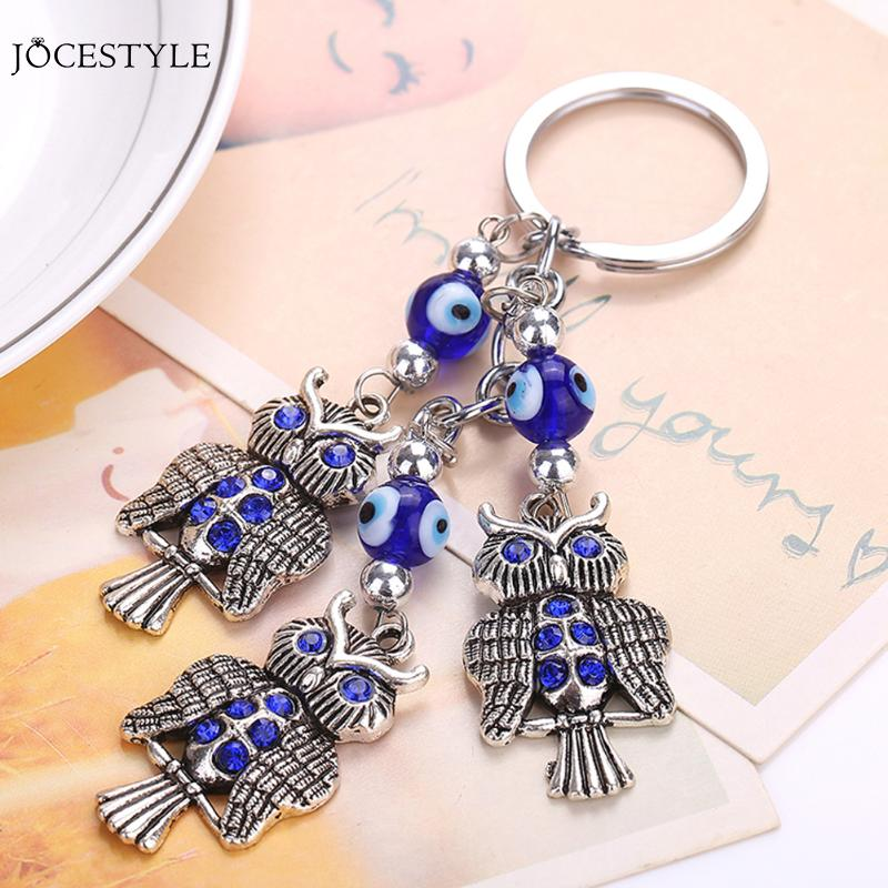 New Fashion Evil Eye Animal Lucky Crystals Car Bag Keychain Keyrings Charm lovely Accessories Creative Novelty gifts ...