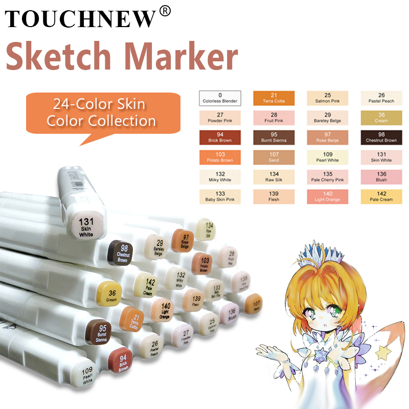 TOUCHFIVE 24 Color Art Markers Set Dual Brush Pens Graphic Art Pens Alcohol Based Sketch Ink For Drawing Manga Art MarkersTOUCHFIVE 24 Color Art Markers Set Dual Brush Pens Graphic Art Pens Alcohol Based Sketch Ink For Drawing Manga Art Markers