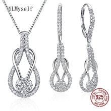 Женский комплект ювелирных изделий ожерелье и серьги из стерлингового
