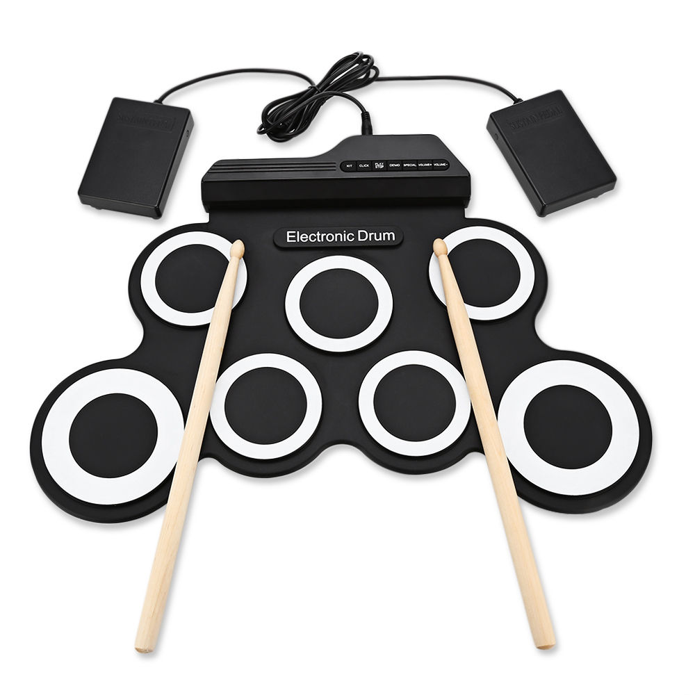 Portable 7 Pad Hand Roll Digital Drum Kit Built-In Metronome Electronic Roll Up Drum Set 7 Silicon Drum Pads Learning Toys Gifts korg kdm 3wh digital metronome white