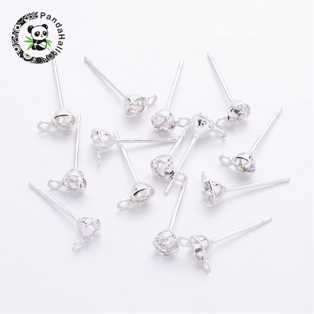 500pcs Brass Post Earring Components with Rhinestone, Silver Color, about 5mm wide, 15mm long, hole: 0.5mm; Pin: 0.8mm