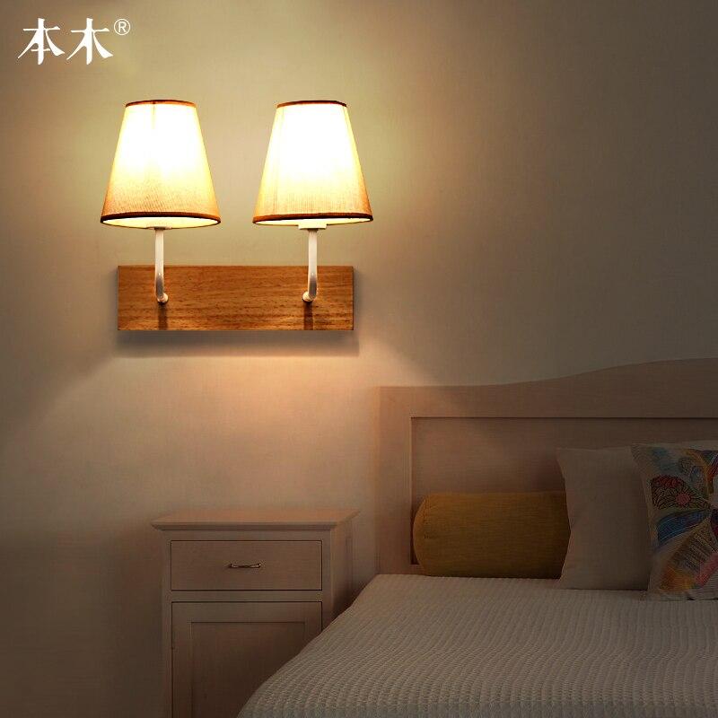 Lampe en tissu simple Led lampe de salon nordique lampe de couloir lampe de chevet de chambre à coucher en bois art japonais