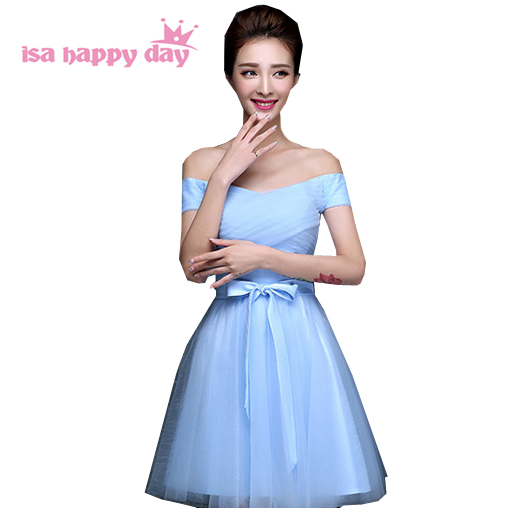 mixed different style styles modest junior sky blue   bridesmaid     dresses   tulle knee length vestidos elegantes   dress   H3406