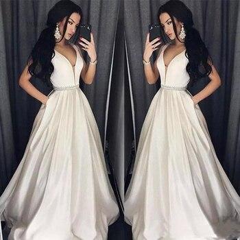 prom dress vestido de gala sexy v-neck ivory prom dresses a-line beading satin pocket party dress with sweep train