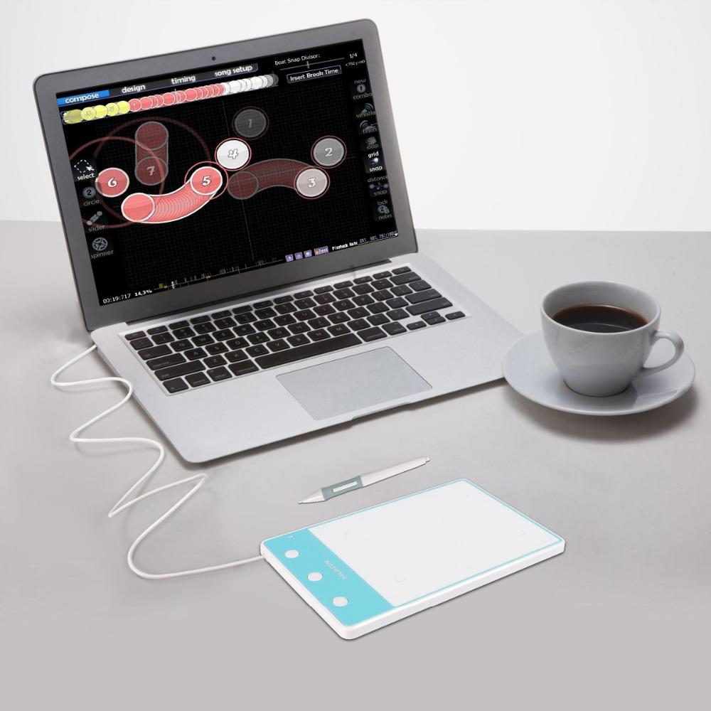 Prix pour Nouveau huion h420 numérique comprimés pouces peinture stylo tablet professionnel signature usb graphique dessin comprimés bleu pour osu jeu