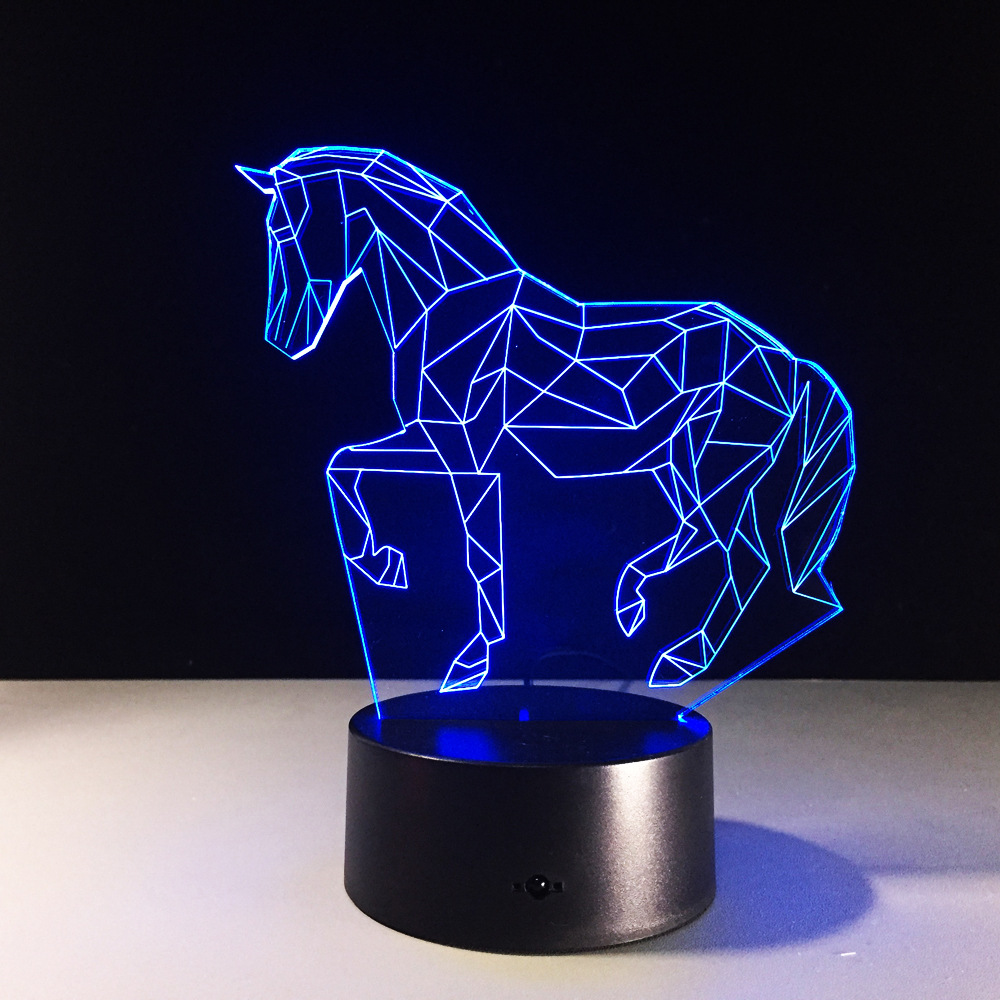 Lovely Horse Night Light Unicorn Party 3D lamp Touch Swithc Colorful 7 Colore change USB Table Desk nightlight for kid Gift