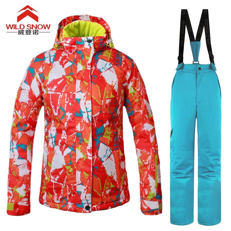 WILD SNOW Women Ski Suit Windproof Waterproof Outdoor Sport Wear female Camping Riding Skiing Warm Snowboard Ski set riding wild