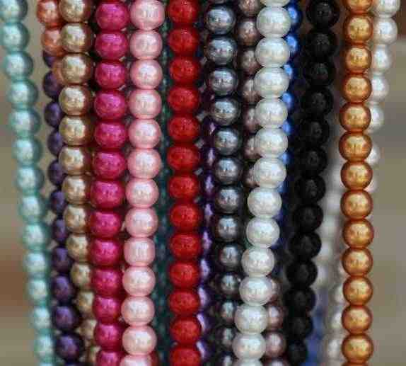 OMH wholesale free ship 4mm 6mm 8mm 10mm 12mm 14mm 50pcs White Black round glass spacer pearl beads Many colors to pick