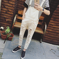 2016 Mens Bib Overalls Black White Autumn Spring Ripped Skinny Overalls Men One Piece Jumpsuits With Holes
