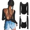 Bodysuit Women leak back Sexy Long Sleeve Bodycon Bandage Bodysuit Jumpsuit Slim Short Romper solid color Free shipping DM#6