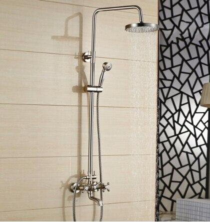 все цены на Modern Nickel Brushed Rainfall Shower Faucet Wall Mount Single Handle Shower Mixer онлайн