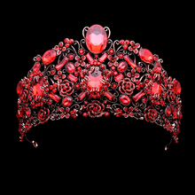 European Luxury Wedding Hair Accessories Vintage Large Queen Diadem Red Rhinestone Baroque Crown Crystal Bridal Tiaras