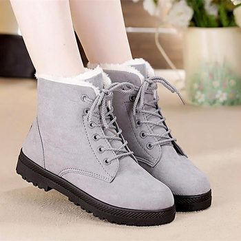 Snow boots 2018 classic heels suede women winter boots warm fur plush Insole ankle boots women shoes hot lace-up shoes woman 2