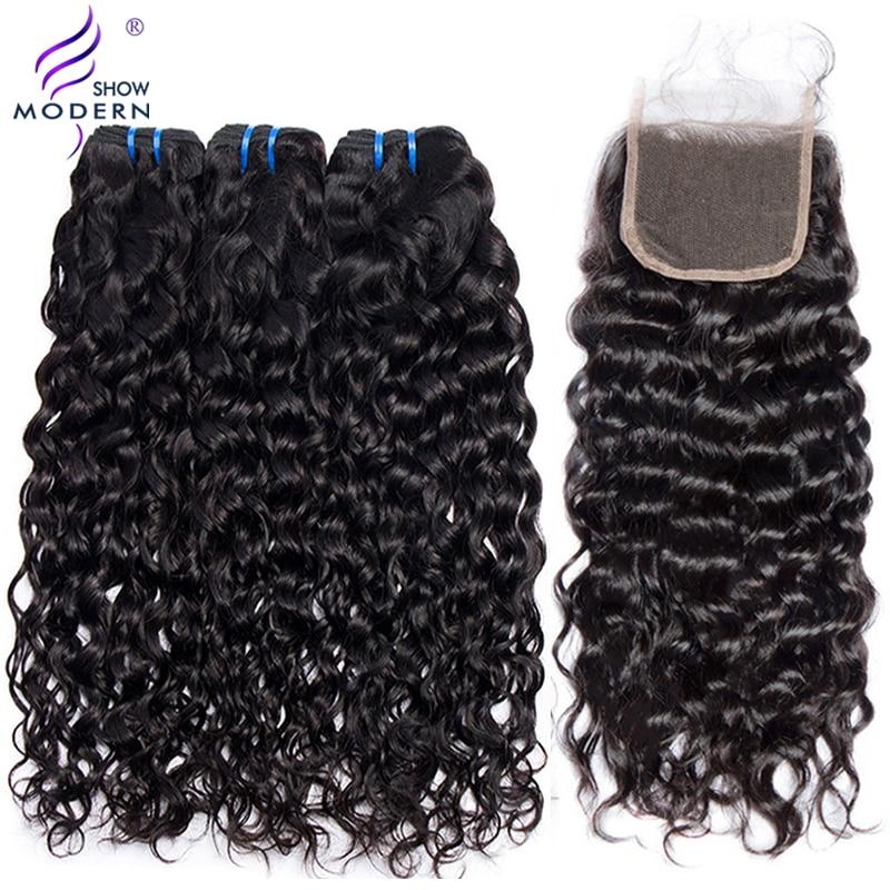 Νερό κύμα 3 πακέτα με κλείσιμο - Ανθρώπινα μαλλιά (για μαύρο)