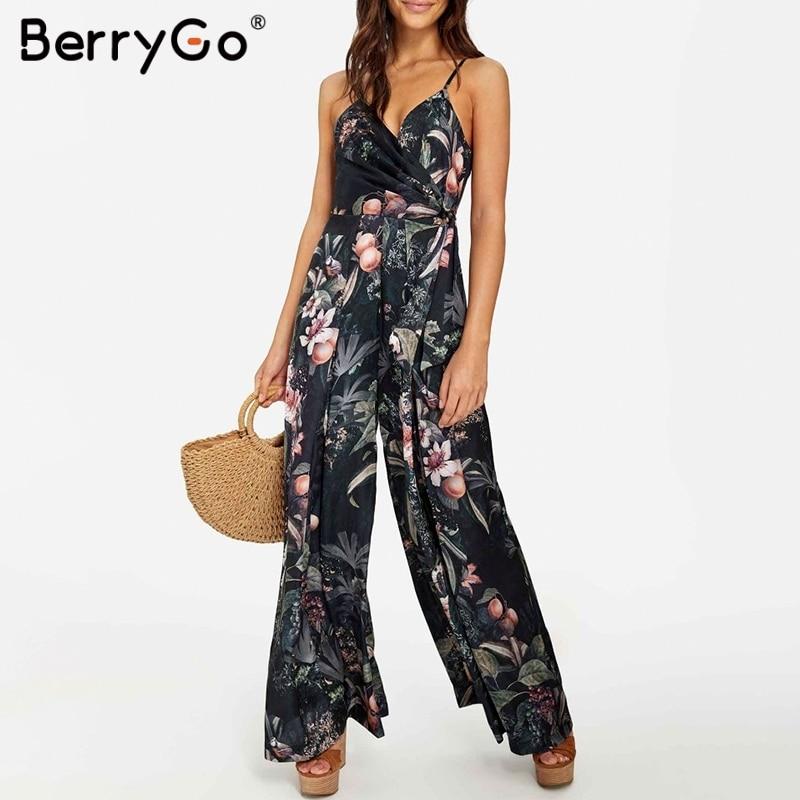 BerryGo women long   jumpsuit   Bohemian floral print   jumpsuit   wide leg romperSexy v-neck spaghetti strap Summer beach   jumpsuit