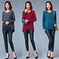 2017 new spring and autumn knitted cotton sweater women's long sleeved v collar loose pullovers and sweaters 3XL 4XL 5XL