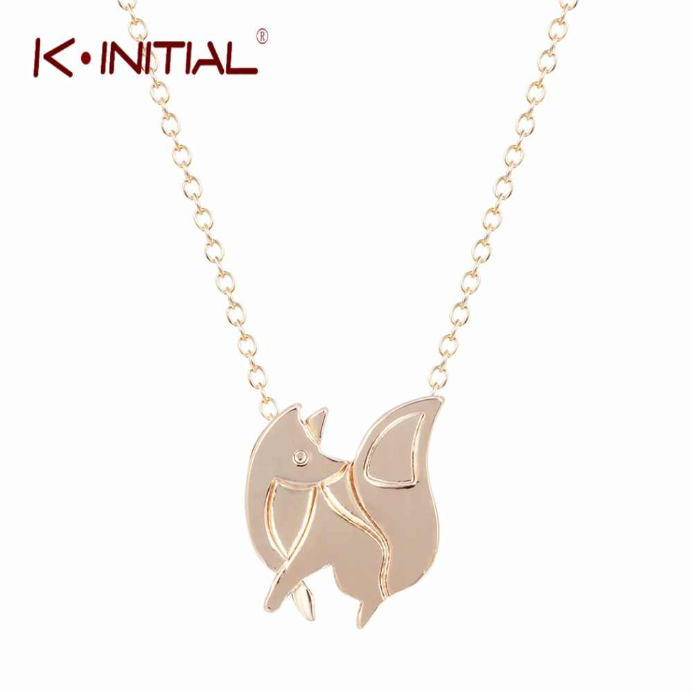 Kinitial BABY FOX SHAPED SILHOUETTE จี้สร้อยคอสร้อยคอ Charms Collar Bijoux