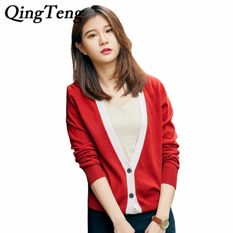 QingTeng Cashmere Button Cardigan Female Knitted Thin Short 2017 Winter Slim Women Long Sleeve Cardigan Wool Cropped Tops