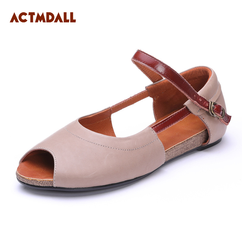 2018 summer vintage leather flat sandals women fish mouth handmade shoes flat bottom shallow mouth casual shoes Actmdall стоимость