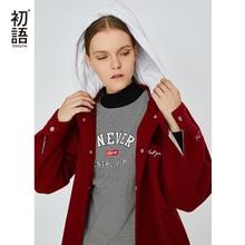 Toyouth abrigo de lana holgado con bordado para Mujer, Trenca lisa, abrigo de invierno de manga larga, capucha coreana