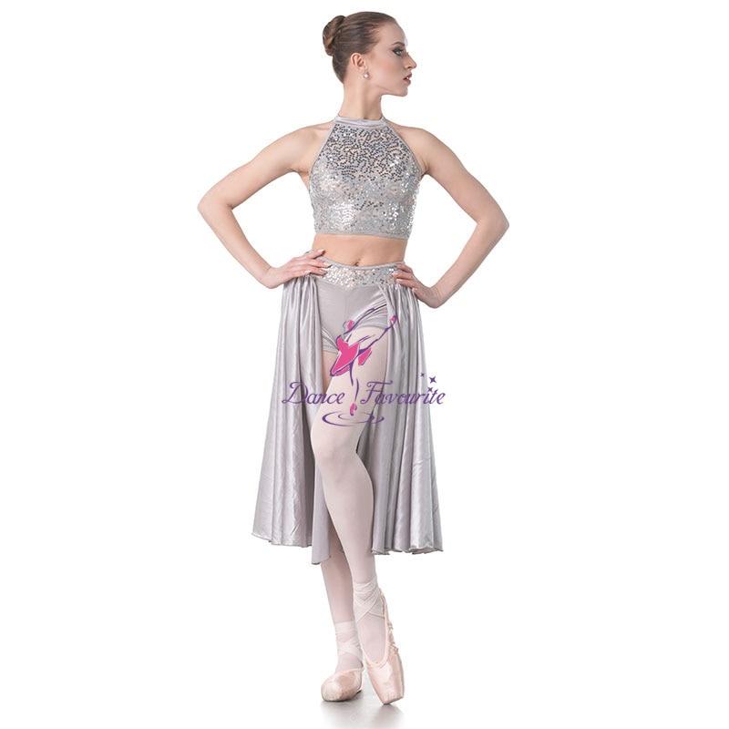 Dance Favourite Grey Sequin Lace Bodice Lyrical Dance Dress with Satin Skirt Ballet Dance Costumes Dress Dancewear
