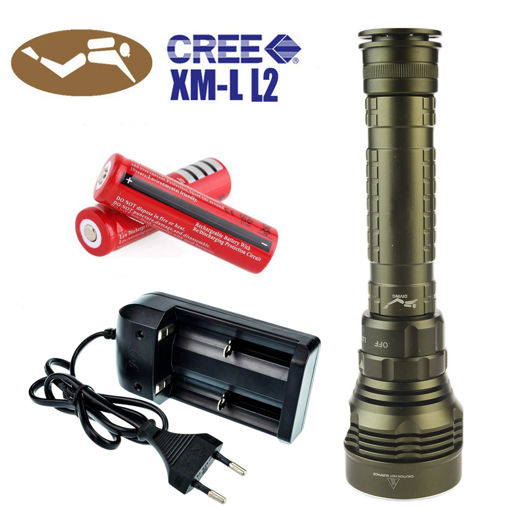 LED Diving Flashlight Torch 100m Underwater Light Diver Light 5 x CREE XML L2 8000 Lumens Scuba Lanterna With 18650 Battery 100m underwater flashlight diving led scuba flashlights light torch diver cree xm l2 use 18650 or 26650 rechargeable batteries