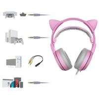 Earphone 3.5mm Jack Cute Headphone with microphone For Girl SOMIC G951S PINK Cat Ear Gaming Headphone Game Headset Led Pink