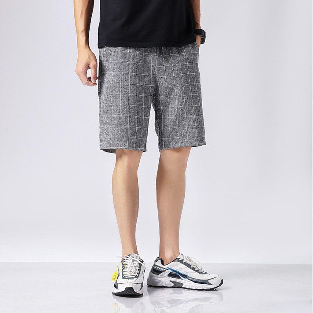 Summer Shorts Pantalones Bermuda Men's Casual New-Fashion Plaid Masculina Cortos Loose