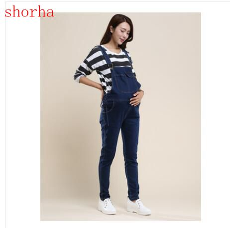 Large size Spring Maternity Women Jeans Denim Jumpsuits Casual Rompers Adjusted Bib Pants Pregnant Overalls Belly Trousers