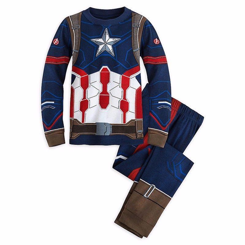 1 Set Children Cotton Long Sleeve Cartoon Spiderman Pajamas Baby Girl Boys Superman Sleepwear kids t-shirts+pants clothes set 19