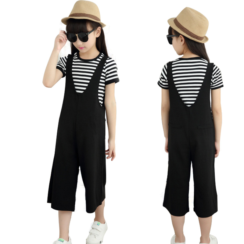 Teenage Girls Clothing Sets Kids Suspenders Pants Suit Striped T-shirt Summer Casual Children Outfits  5-16T Clothes Set girl brand children girl casual tracksuits infant outfits kids clothing sets girls sport suit for children babi girls tees leggings