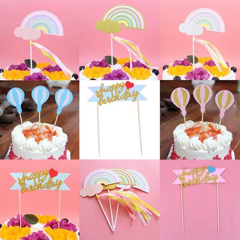 Розовый синий Радуга облако воздушные шары Единорог коллекция торт Топпер десерт украшения для день рождения прекрасные подарки