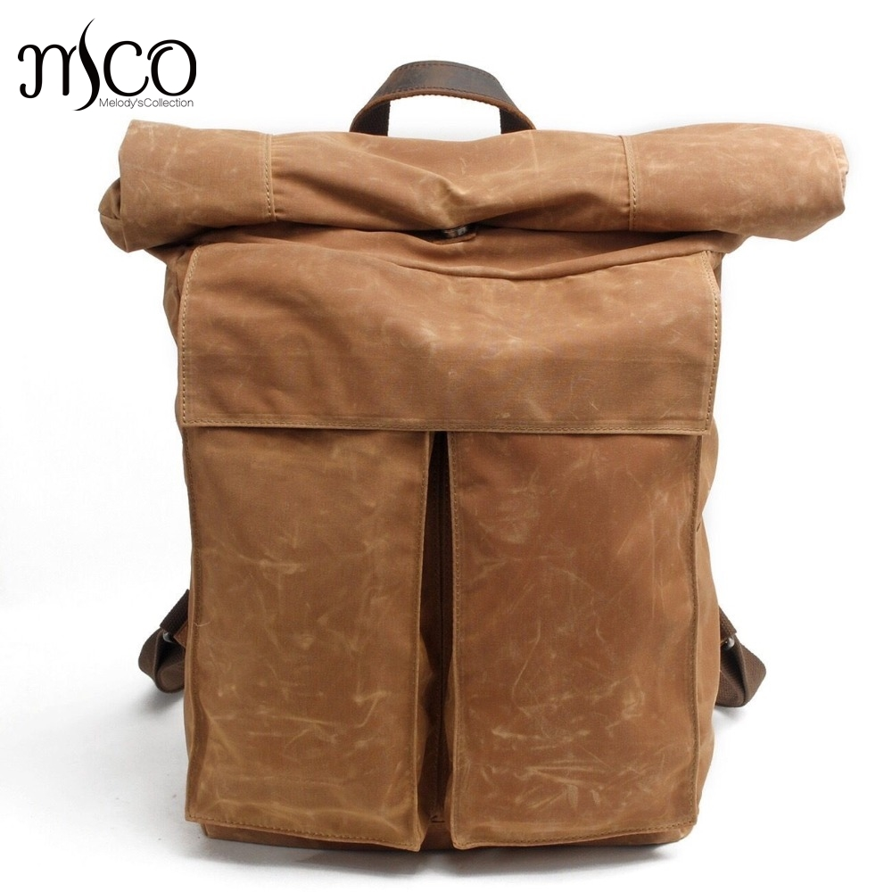 High Quality Vintage Waterproof Wax Canvas Travel Backpack For Men Large Capacity Knapsack Holiday Men Rucksacks Riding Pack Bag
