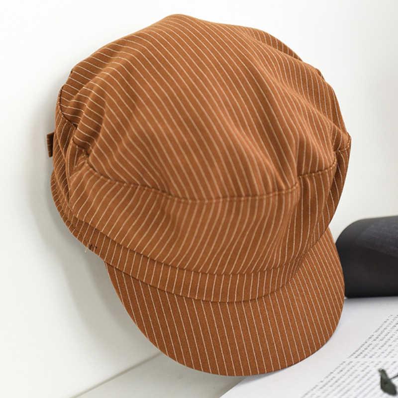 HT2565 قبعة الربيع الخريف الرجال النساء قبعة خمر مخطط شقة أعلى موزع الصحف كاب للجنسين الرجعية الفنان الرسام قبعة بحار الكابتن كاب