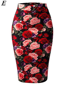 Sous Jupe Femme Summer Skirts Womens 2020 Floral Print Knee Length High Waist Pencil Skirt Bodycon Vintage Saias Jupe Bandage
