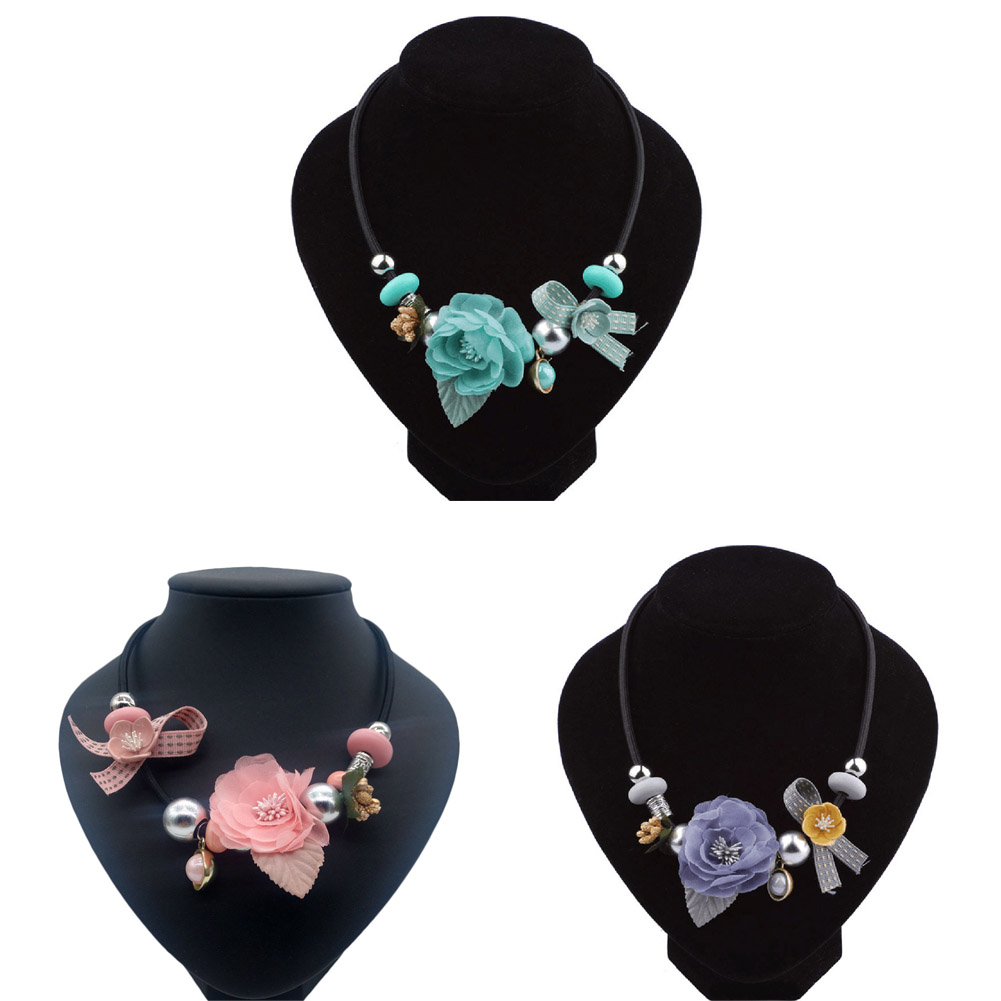 Korean Women Fashion Simple Flowers Necklace Summer New Wild Retro Handmade Cloth Collar