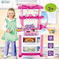 Chegada nova Música Infantil Brinquedo Do Bebê Grande Cozinha Cozinha Simulação modelo de kit caixa de cozinha toys toy play food de comida de plástico Kat