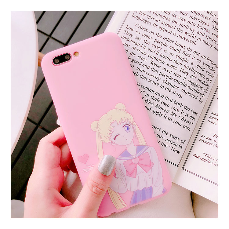 Japen Cartoon Pink Instagram Popular Anime Sailor Moon Soft Case For Iphone 6 6s 7 7plus 8 Xr Lovely Cover For Iphone X Max Cellphones & Telecommunications Fitted Cases
