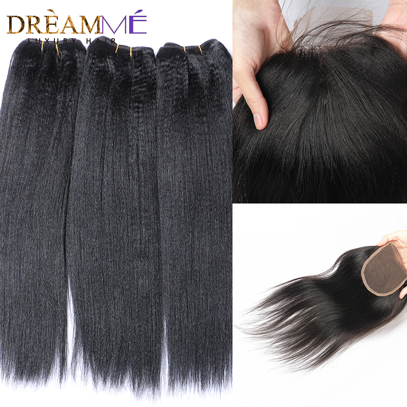 Dreaming Queen Brazilian Light Yaki Human Hair 3 Bundles With Lace Closures Yaki Straight Hair With