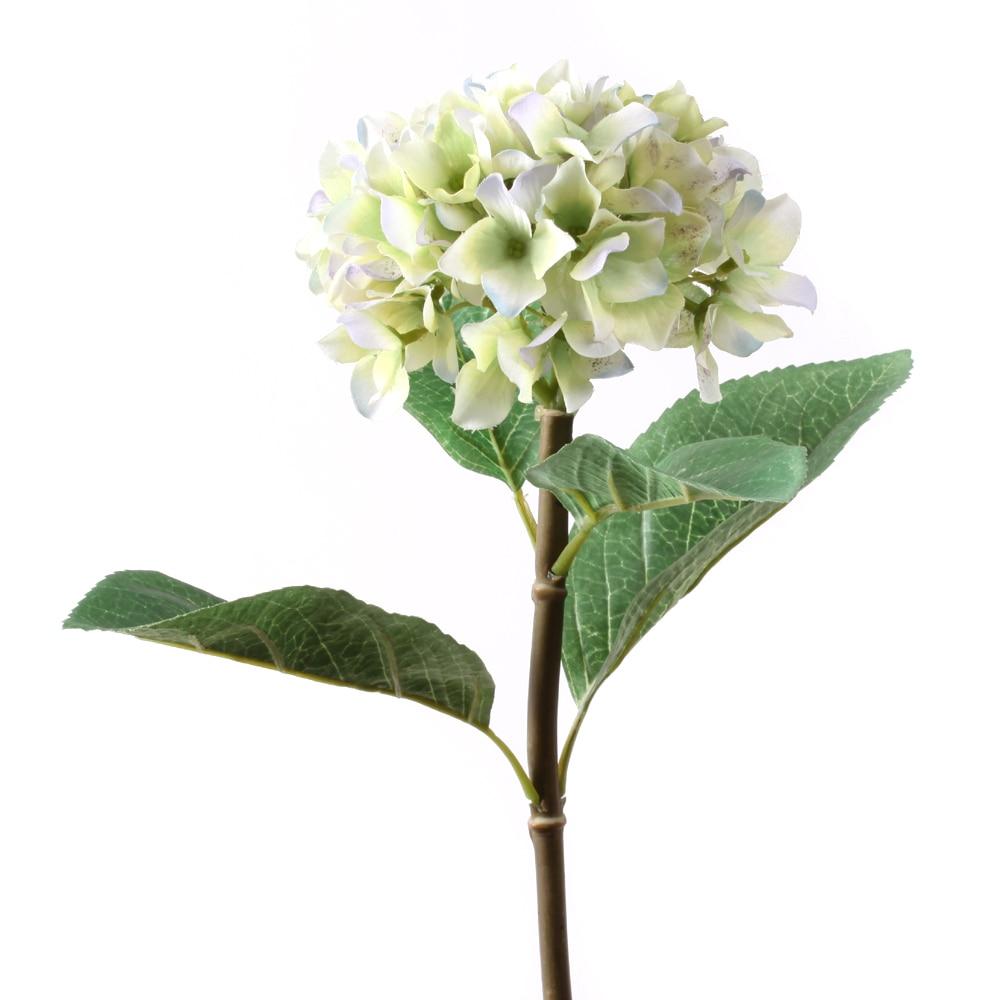 32 Artificial Hydrangea Silk Flower Single Stem In Green