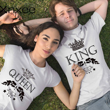 King Queen Letter Crown Print Tshirt Couple Short Sleeve Tops Tumblr Tee Womens T-shirts Men White T Shirt Lovers Summer Top