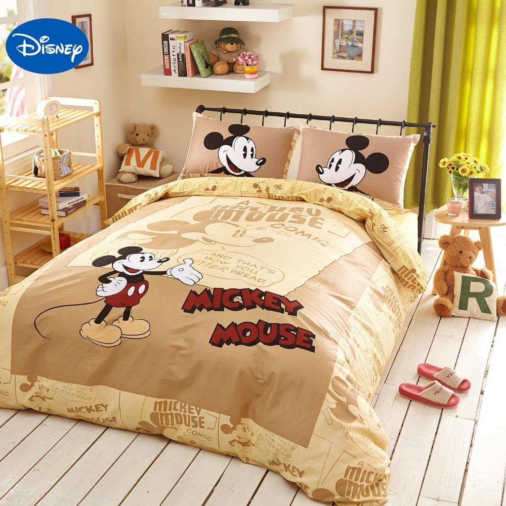 Beige Disney Cartoon Mickey Mouse 3D Stampato Set Biancheria Da Letto per ragazzi Arredamento Camera Da Letto copertura Lenzuola di Cotone Duvet Singola Doppia regina